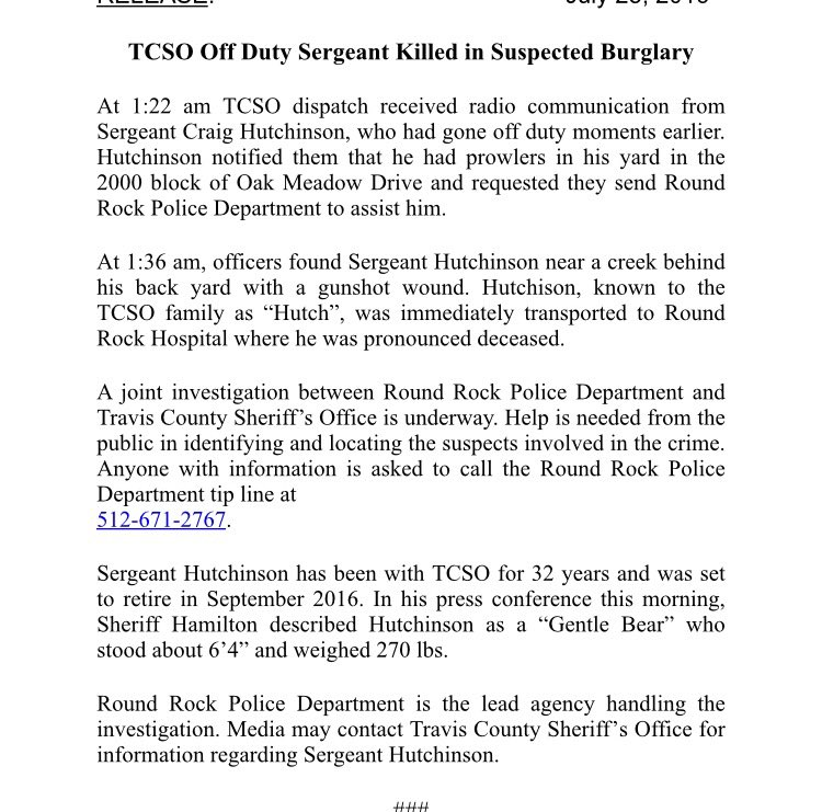 Latest from TCSO in sergeant fatal shooting