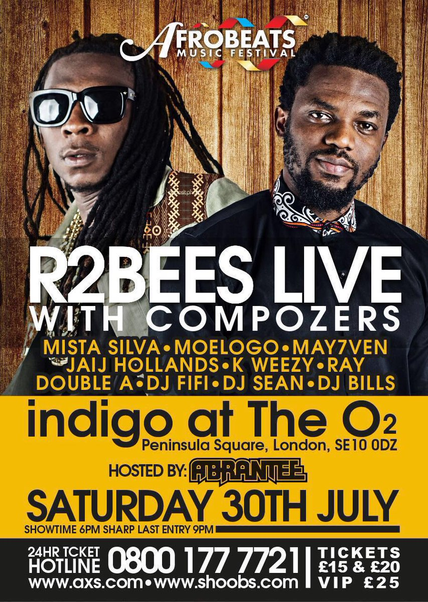 LONDON!!! This Saturday we are live with @Compozers at Afrobeats music festival @indigoatTheO2 https://t.co/KAvzoKrZ0V