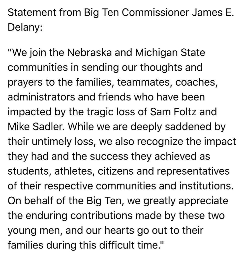 Big Ten Commissioner James E. Delany releases statement on the loss of Mike Sadler and Sam Foltz Spartans