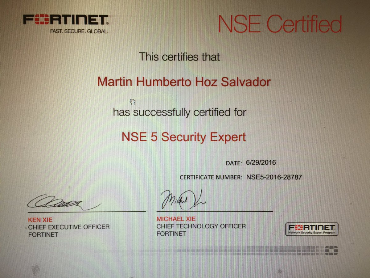 Martin Hoz On Twitter I Am An Officially Nse5 Certified Fortinet