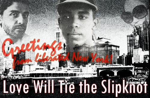 graphic of city skyline with three superimposed faces with text that reads Greetings from Liberated New York