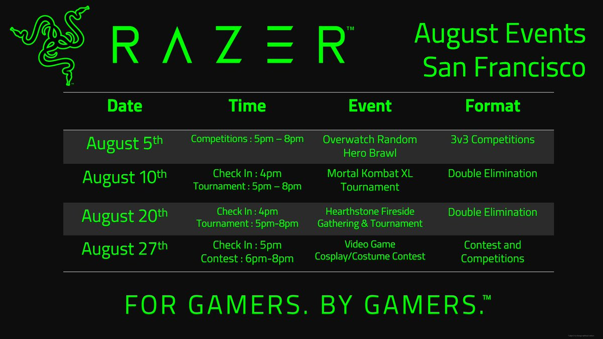 Upcoming August events at #RazerStoreSF! Sign up links are on the way! Come out and play! https://t.co/l8FtP2paN7