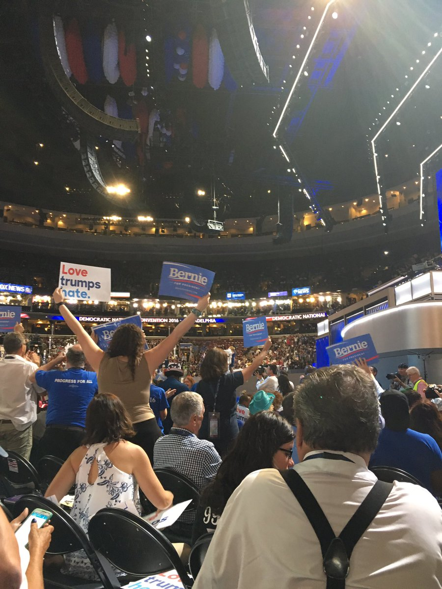 A lot of love for Bernie Sanders in the house at the Wells Fargo Center. @6abc DNCinPHL