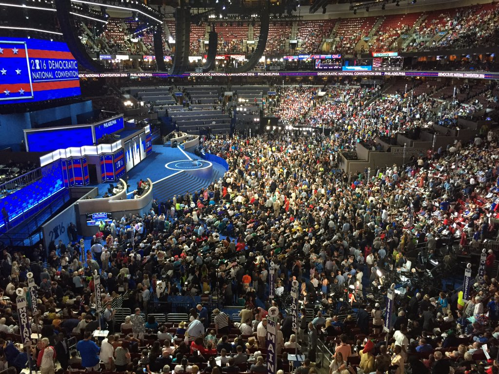 Entire delegation just stood still for two minutes while DNC took panoramic picture. DemsInPhilly