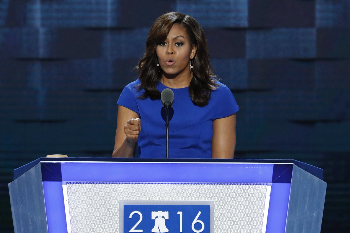 Michelle Obama chokes up during DNC speech