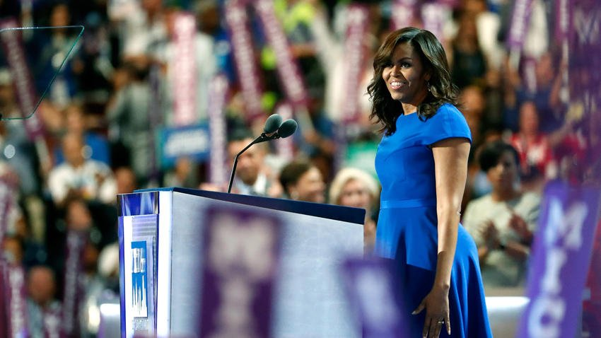 After day of disputes, Michelle Obama electrifies Democratic convention DemsInPhilly