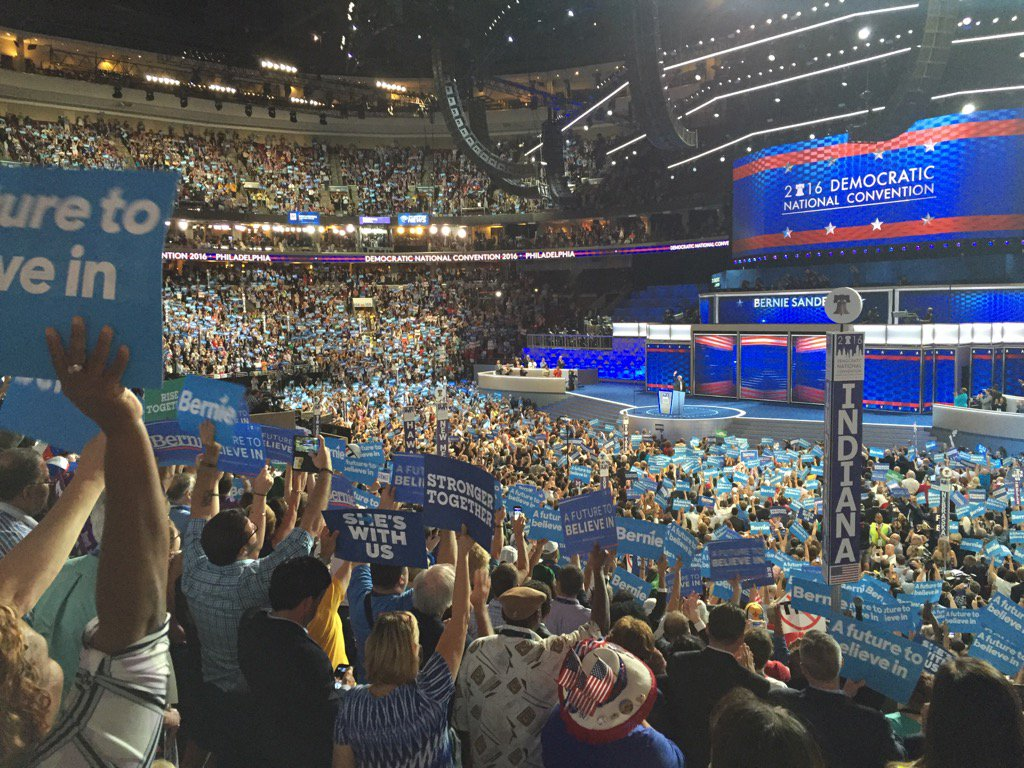 The view from Michigan delegation for @BernieSanders speech at DNCinPHL