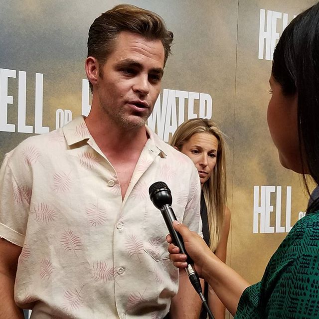 The stars of the film HOHWMovie including ChrisPine spoke to @taniaonfox7 on the red…