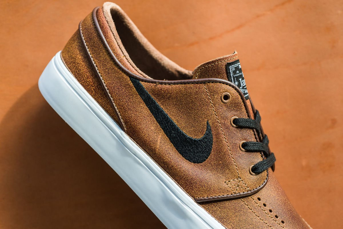 6c88f228e02ca the nike sb zoom stefan janoski is embellished with aged leather