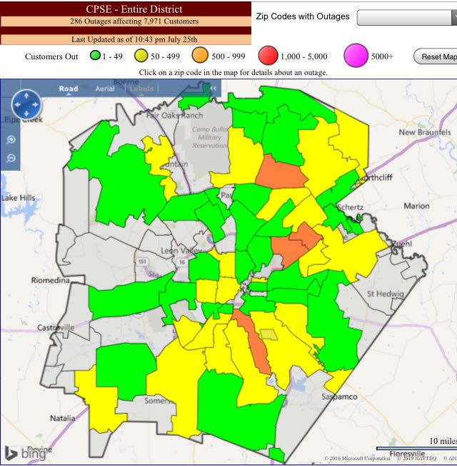 Cps Energy On Twitter Outage Map Showing Just Under 8k Customers