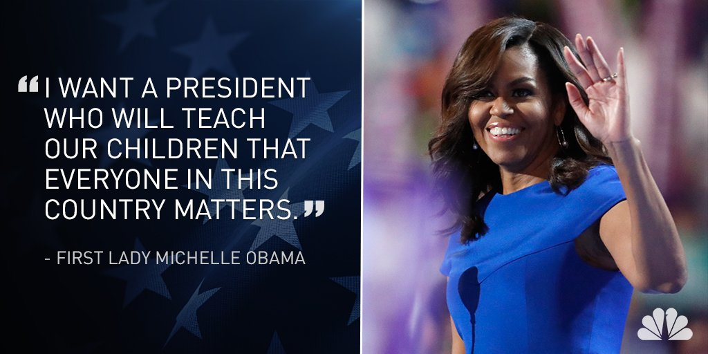 First Lady Michelle Obama delivers a speech casting Clinton as the only candidate she trusts