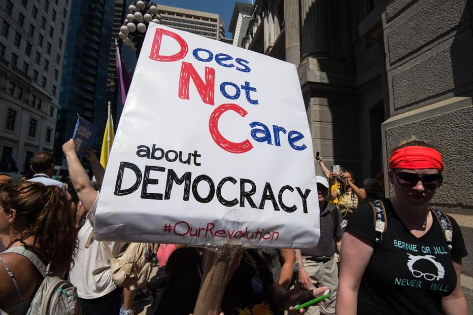Bernie Sanders supporters protest the Democratic National Convention DemsinPhilly