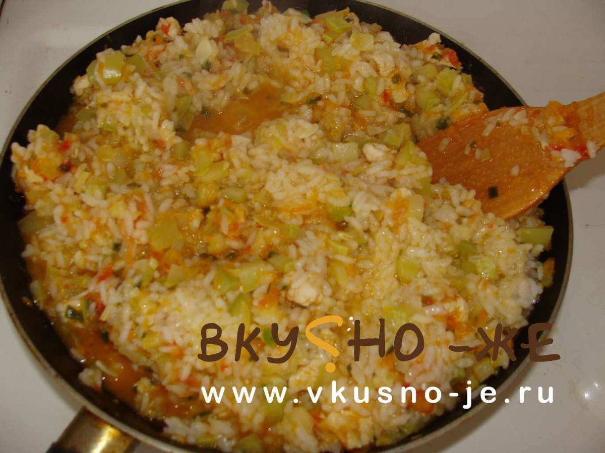Рецепт рис с овощами и мясом