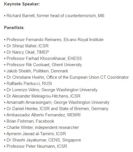 Superb list of speakers for Thurs/Fri conference, 'ISIS in Europe'. Book your place: https://t.co/4ADXKqjye9 https://t.co/672kKCrheb
