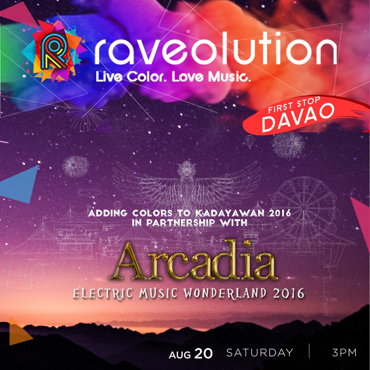 #Raveolutionph is going to Davao! Party with us and Arcadia Electric Music Wonderland 2016 on Aug 20! #UniteInColor https://t.co/lwUwfi0y02