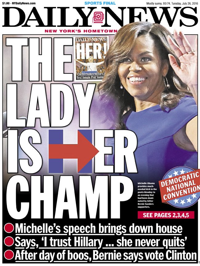 Today's front page: THE LADY IS HER CHAMP! @FLOTUS' speech brings down the house