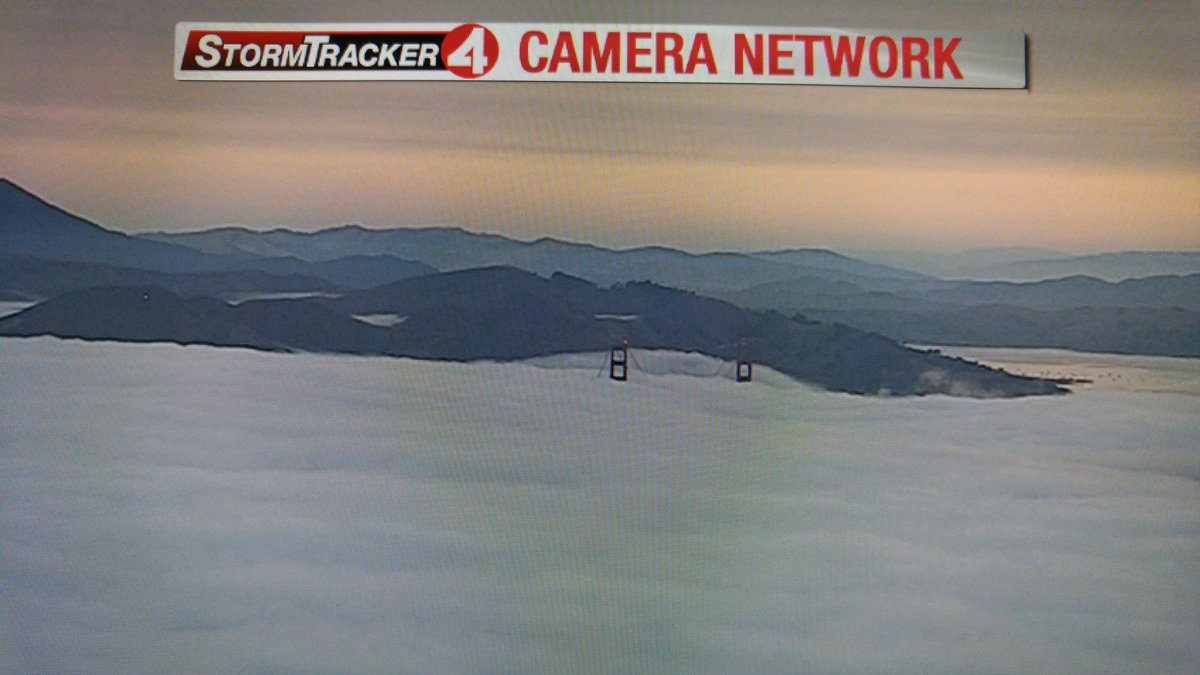 A low deck of fog over the Golden Gate this morning.