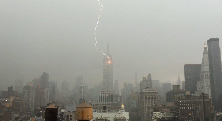 Gozer? Empire State Building struck by lightning