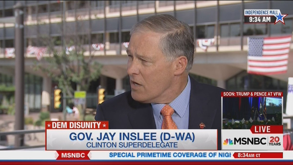 Clinton superdelegate @GovInslee was a guest on MSNBC this morning. He thinks Sanders supporters will come around.