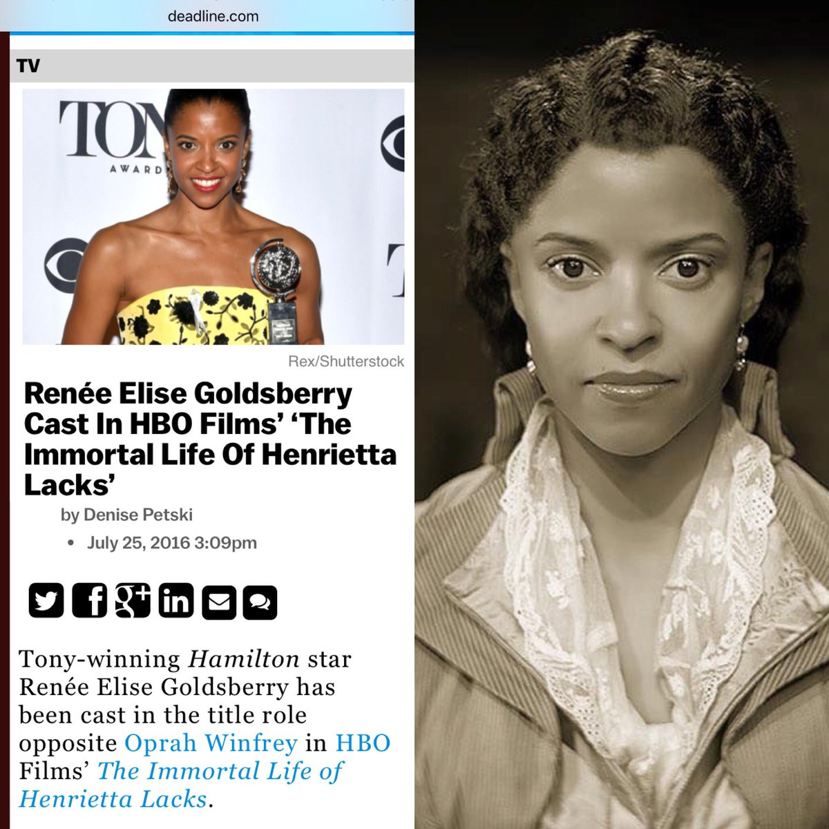 ICYMI @reneeelisegolds to play #HenriettaLacks in #HeLaFilm adaptation with @Oprah as Deborah & #RoseByrne as me! https://t.co/GMPTNswTCT