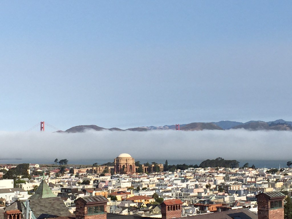 A concert of fog horns today. Very shallow fog bank in San Francisco this morning.