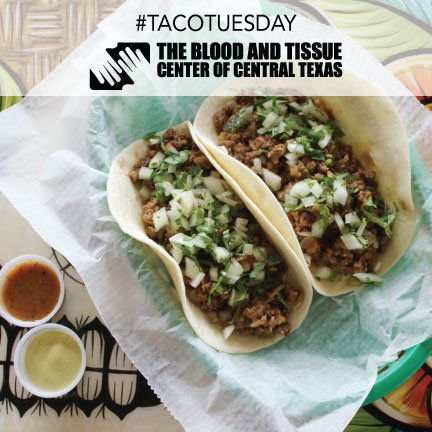 It's #TacoTuesday @centraltxblood! Donate blood any Tues this summer & get a free taco on us at any Austin location https://t.co/mWfaFaV5pe