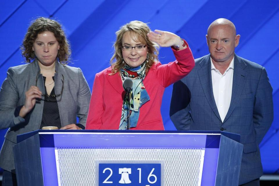 Former congresswoman Gabrielle Giffords attends DNC rally against gun violence DemsInPhilly