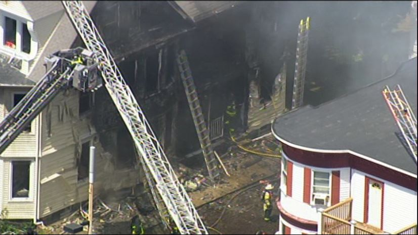 Sky7 over a large fire in Dorchester. 7News
