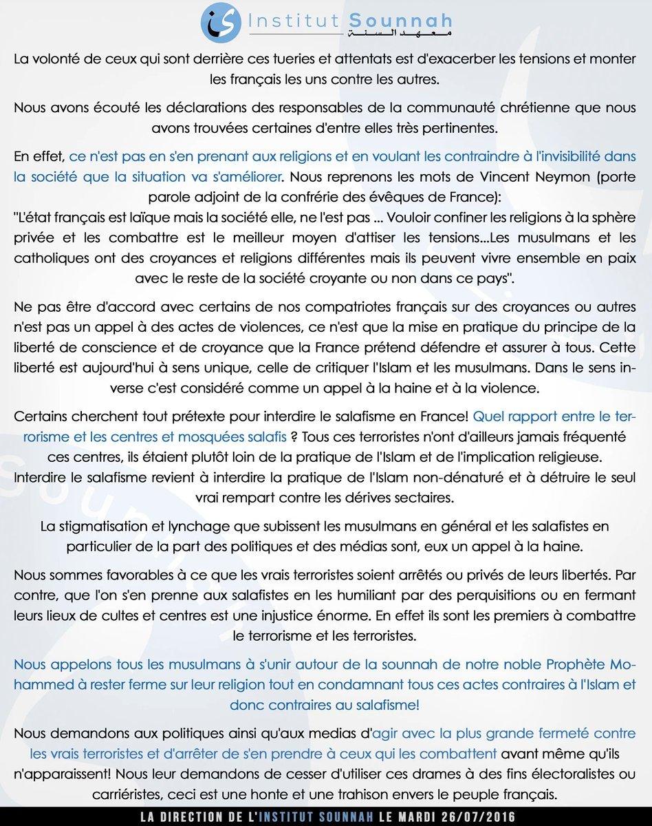 L'@InstitutSounnah dénonce l'attentat de #SaintEtienneDuRouvray et la stigmatisation du salafisme en #France. https://t.co/zDAORDT4RT
