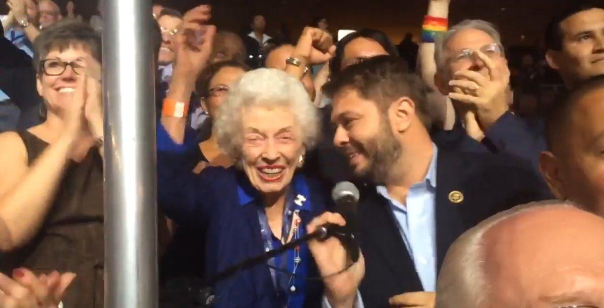 SEE IT: Arizona delegate, born before women could vote, pledges state for Hillary Clinton