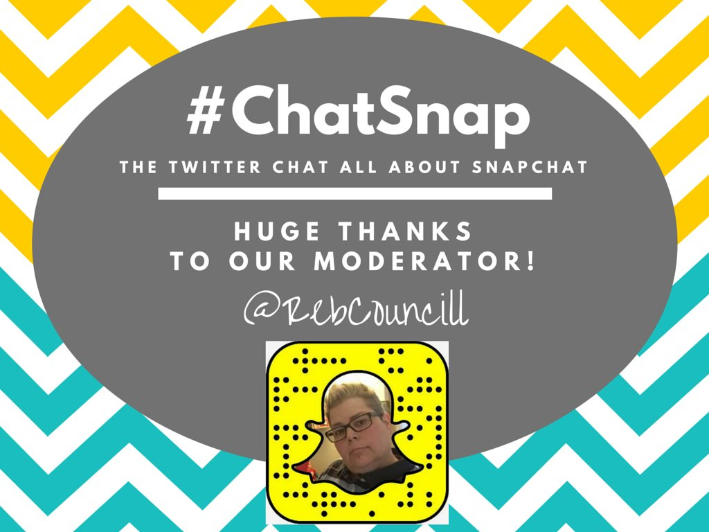 "Say ""hi"" to today's #ChatSnap moderator, @RebCouncill! She'll be RTing and engaging like crazy for the next hour! https://t.co/1RoEEyHAzY"