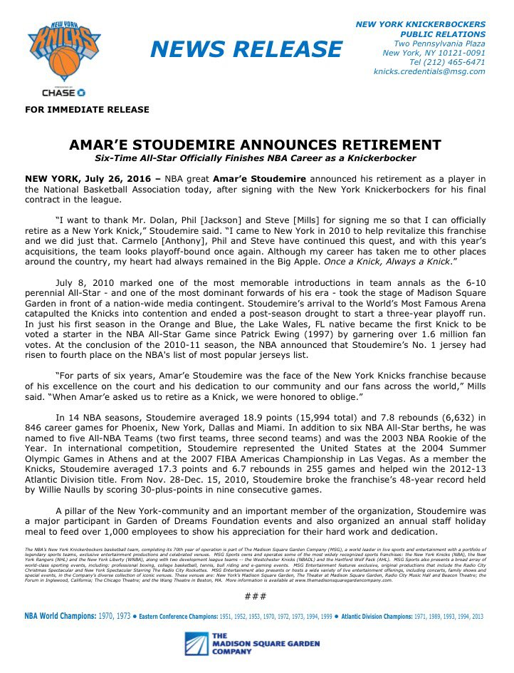 6-time NBA All-Star Amar'e Stoudemire announces retirement from @nyknicks READ @Amareisreal's statement