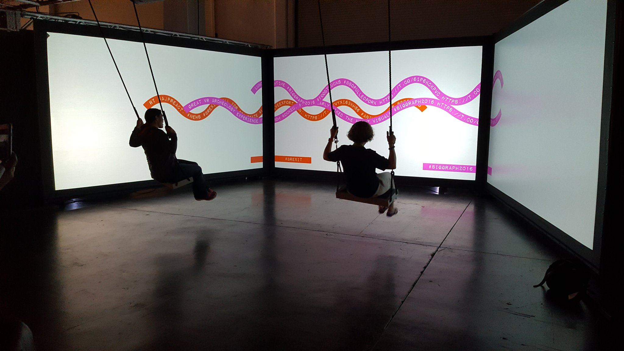 RT @vertebraeinc: Giving it a go on the #Siggraph swings.  #Lightbug #play #Siggraph2016 #interactive #VertebraeVR https://t.co/tegwNEjyHw