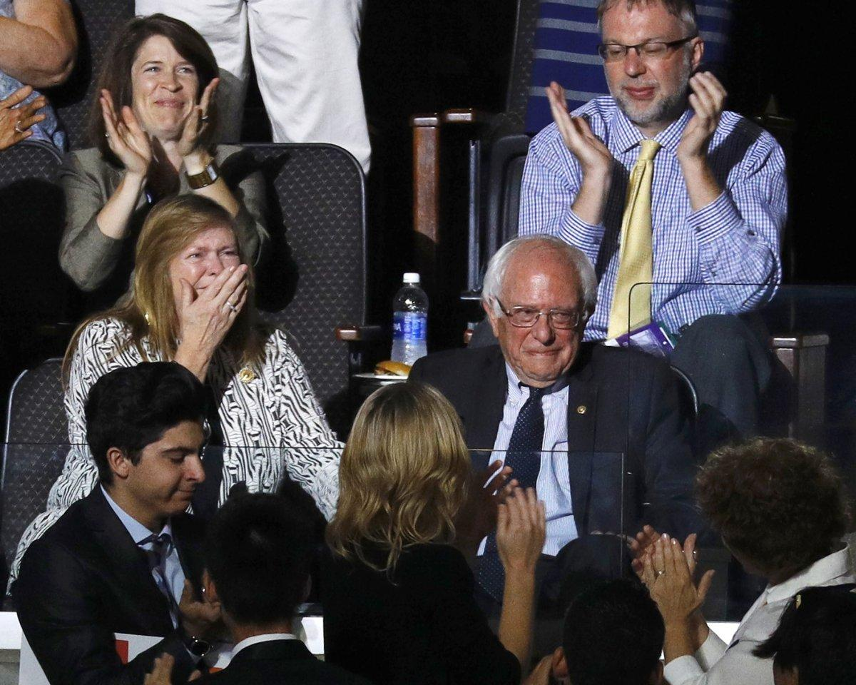 SEE IT: Real Bernie Bro Larry Sanders moves @BernieSanders to tears at DemsinPhilly