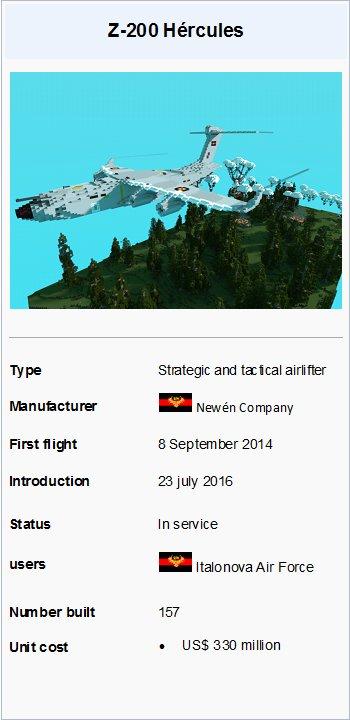 Z-200 Hércules Transport aircraft Minecraft Map