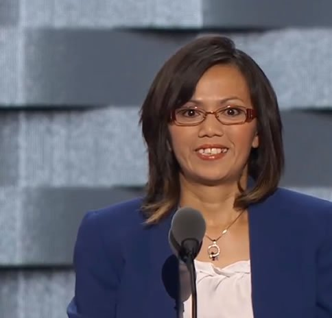 Ima Matul, a sex trafficking survivor and advocate, addresses the DNC