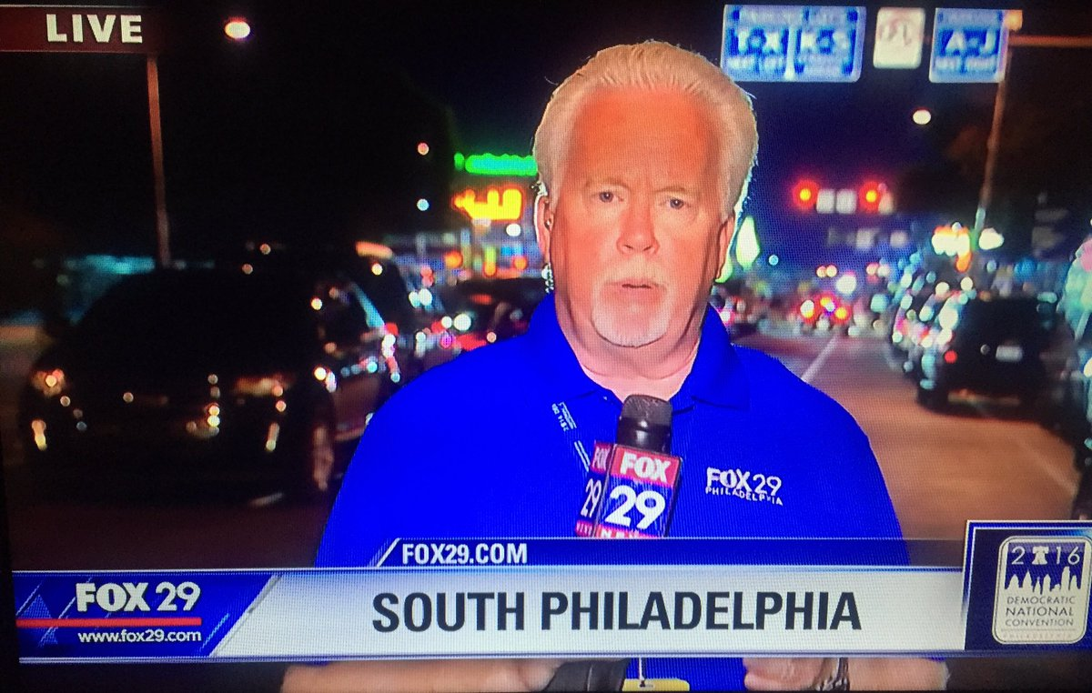 @FOX29philly live on the streets w/reports of marchers burning American flags & signs. Inside @billclinton on stage