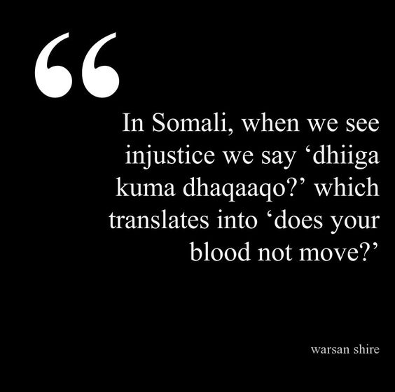 In Somali, when we see injustice we say 'dhiiga kuma dhaqaaqo?' which translates into 'does your blood not move?' https://t.co/VrTCsuba6c