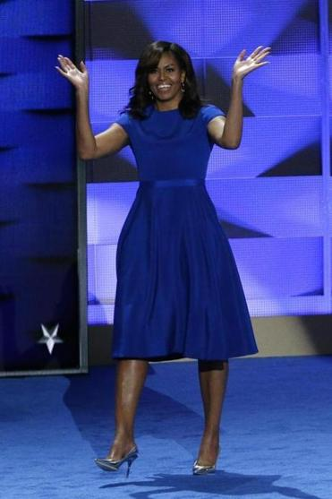 Michelle Obama's dress spoke volumes while appearing, at first, to be entirely subdued.