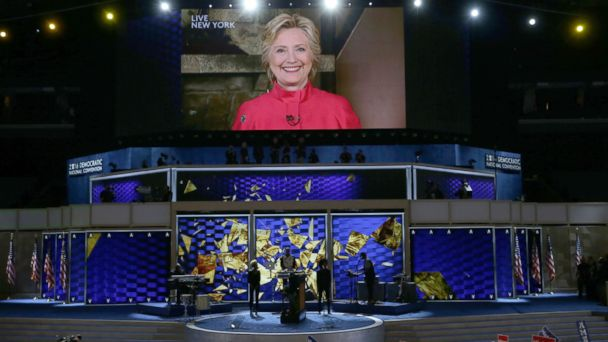 Hillary Clinton makes surprise appearance via satellite at the DNC