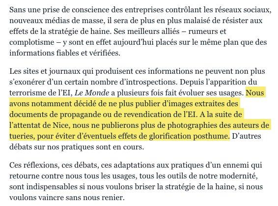 'Le Monde' ne publiera 'plus de photographies des auteurs de tueries'. L'édito de @JeroFeno https://t.co/j5lSfVKMeO