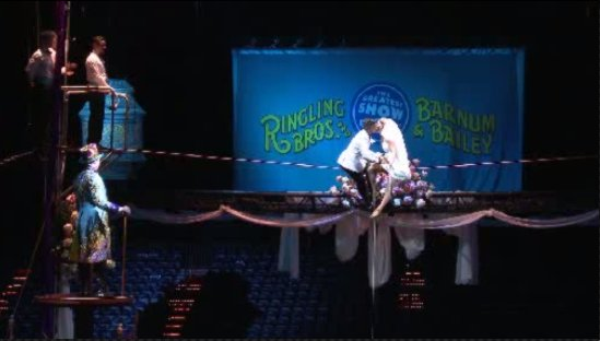 Circus performers marry high above the floor of NRG Stadium, in a special wedding ceremony.
