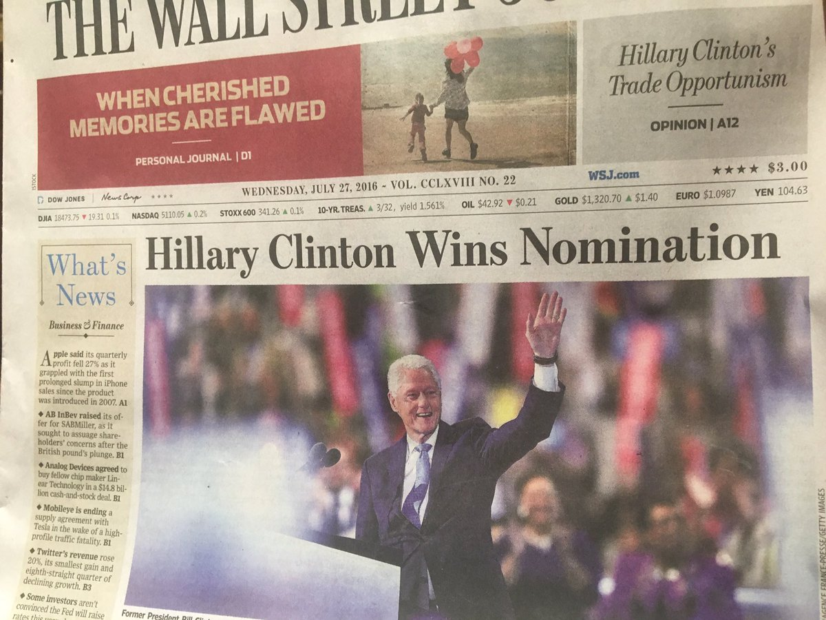A woman wins a presidential nomination for the 1st time ever -- and this is your cover, @chicagotribune @wsj? https://t.co/x4OzPk18fY