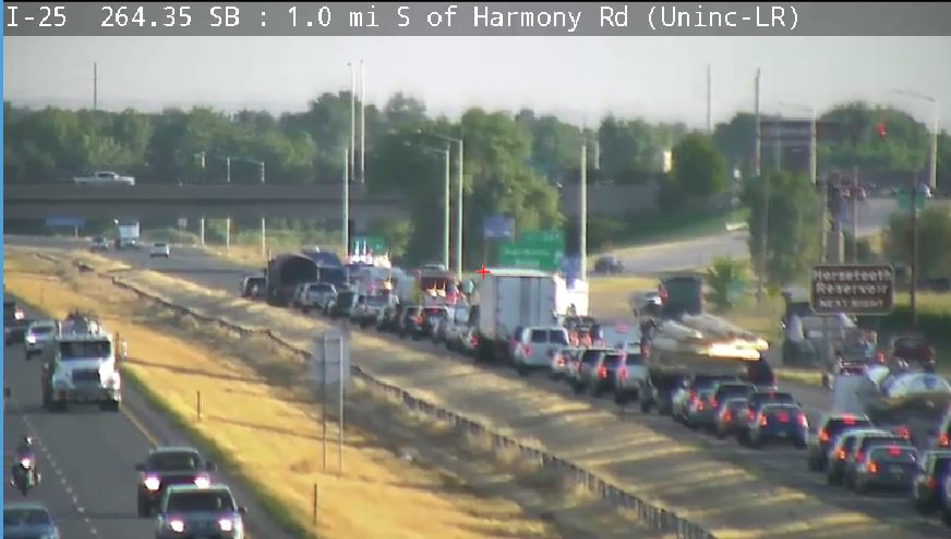 this crash is on NB 25 near Ft Collins at Harmony. Traffic is trickling past it.