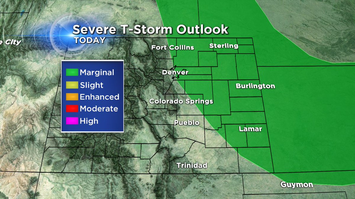 A few storms could turn severe today, hail & wind will be the biggest threats! cowx