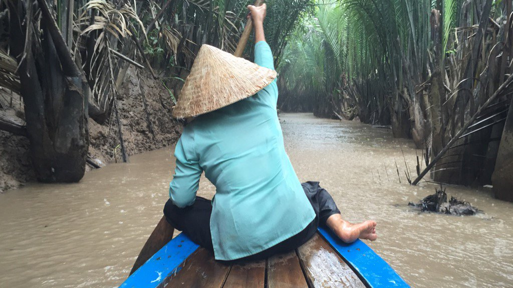 On a boat in the Mekong Delta. 3G, five bars signal.