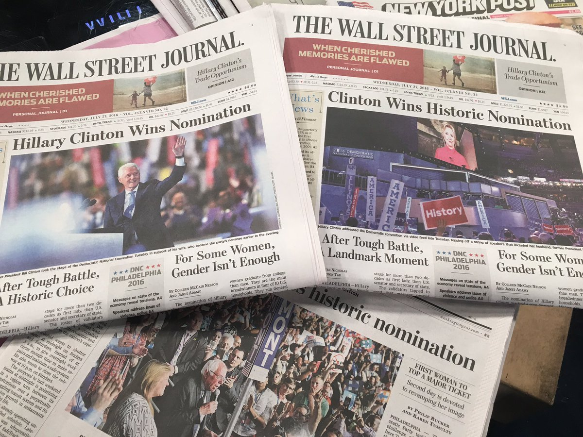 "At some point overnight @WSJ decided ""Hillary Clinton Wins Nomination"" headline needed a picture of Hillary. #picks https://t.co/uBiZiIIQte"