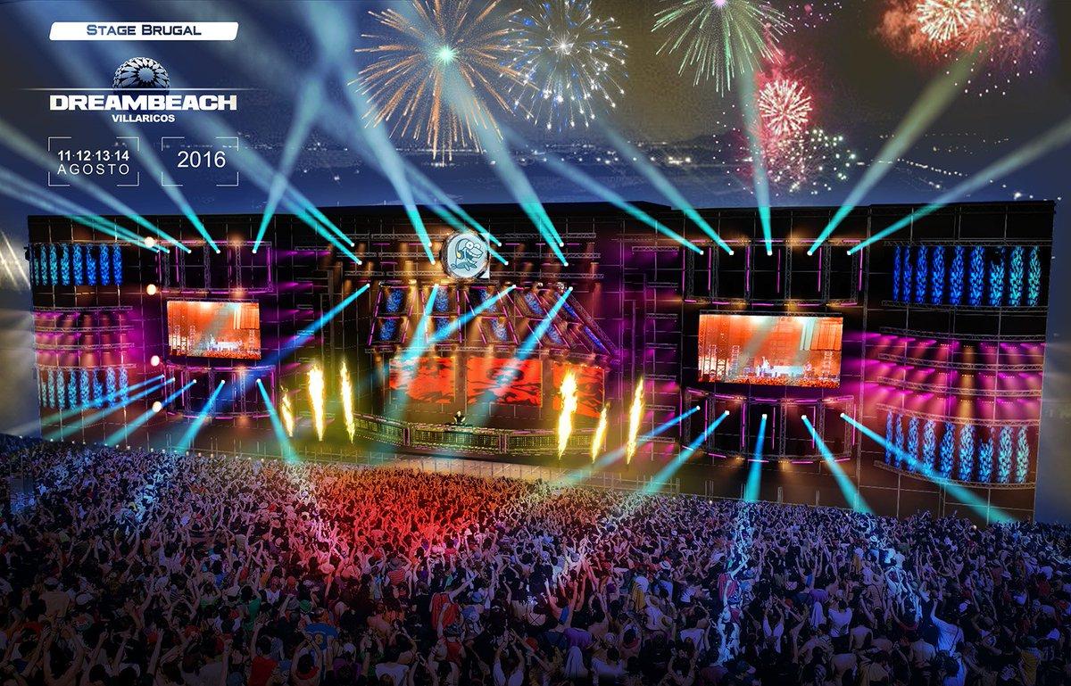 #BrugalStage #Dreambeach Más de 250m2 de pantallas LED  Más de 450 aparatos de iluminación  Efectos y pirotecnia