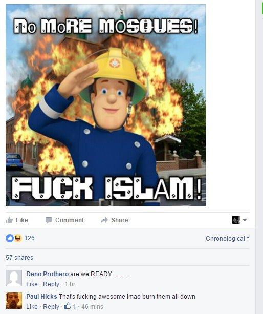 On the #edl Fbk page right now, surely this is encitement (see comments) ?? https://t.co/1NrkXtS4I8