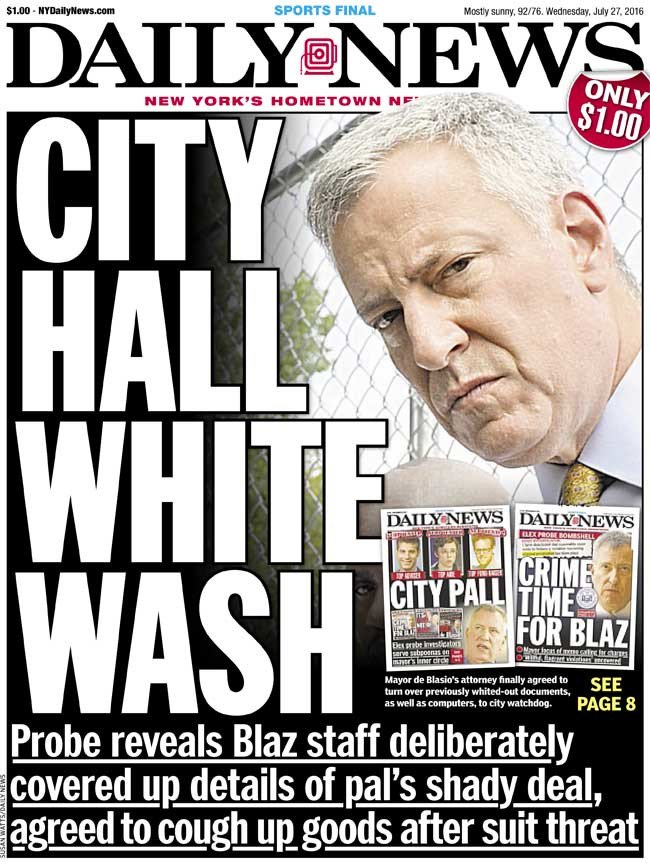 Today's front page - CITY HALL WHITE WASH: Probe reveals Blaz staff covered up shady deal